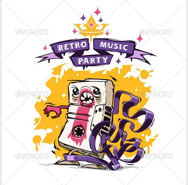 retro music party poster1