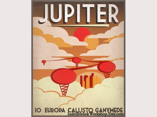 Retro Sci-Fi Jupiter Travel Poster
