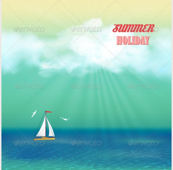 Retro Sea Yacht Summer Travel Poster