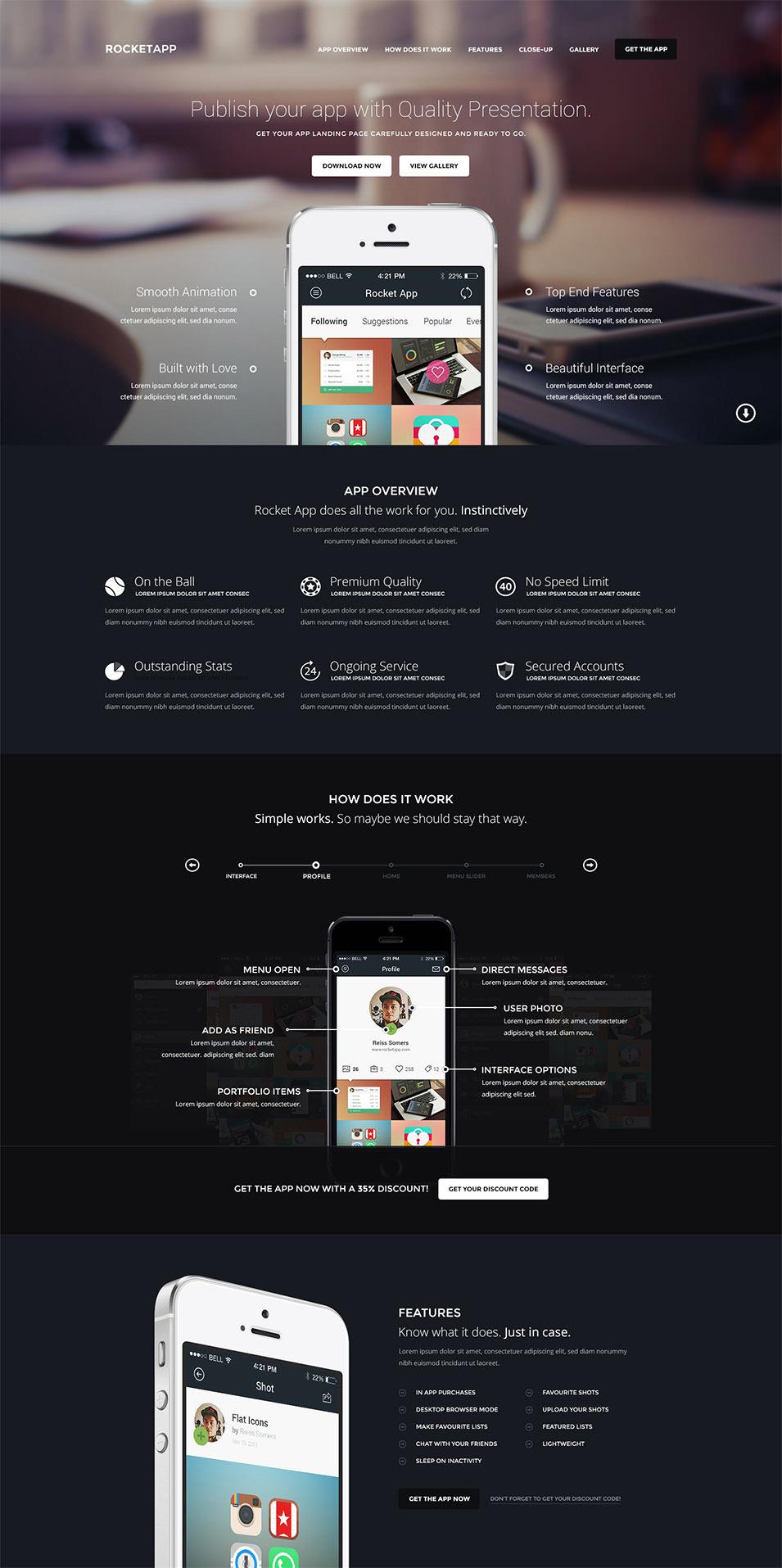 rocketapp app landing page psd