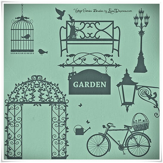 romantic vintage garden high res photoshop brushes