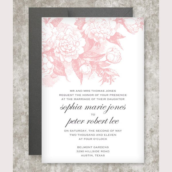 rose scrolls invitation template