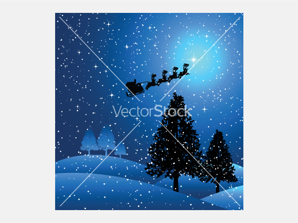 Santa on a snowy night vector