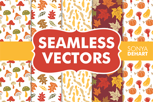 seamless fall vector patterns