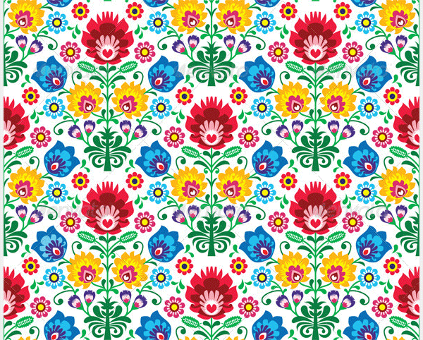 seamless floral polish pattern