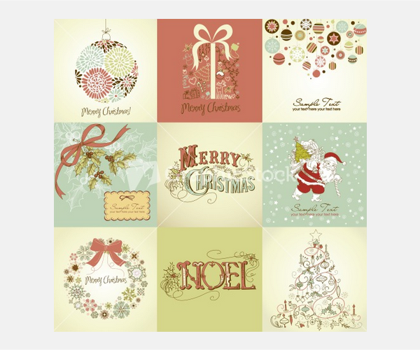 Set Of Christmas Cards Stock Image