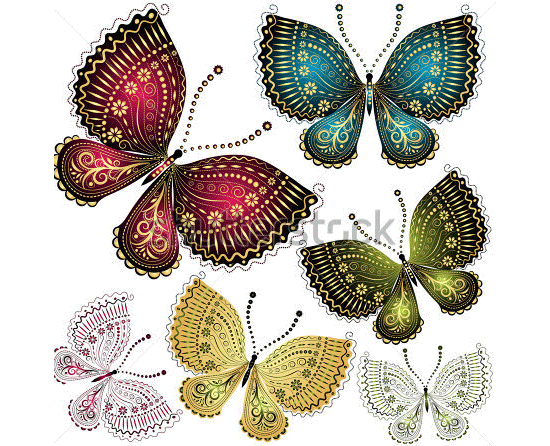 set fantasy colorful vintage butterflies