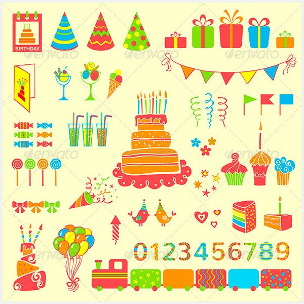 Set of Vector Birthday Elements