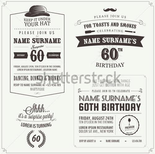 set of adult birthday invitation