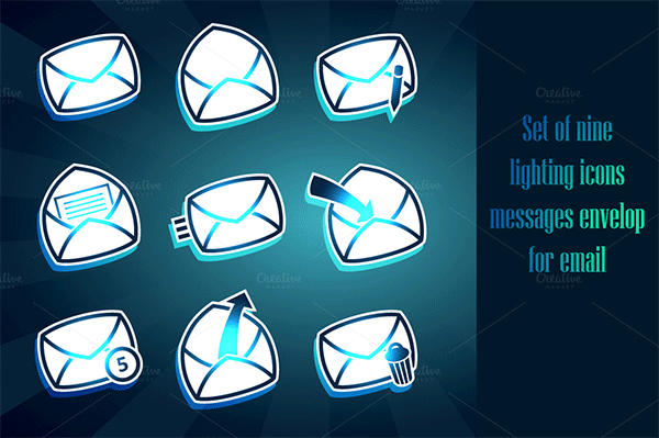 set of envelops icons