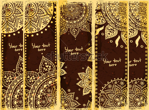 set of ethnic bookmarks with gold ornaments1