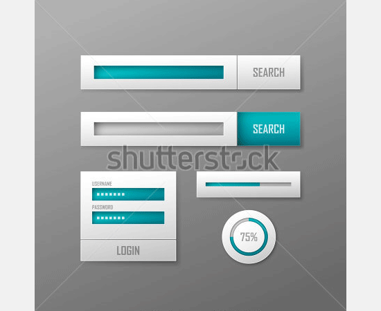 set of white vector web elements