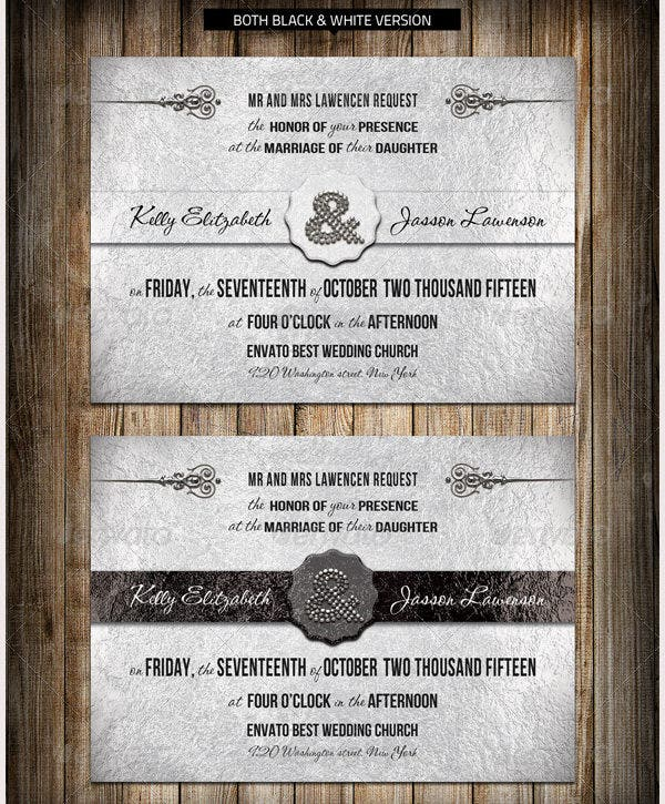 Silver Wedding Invitation Template