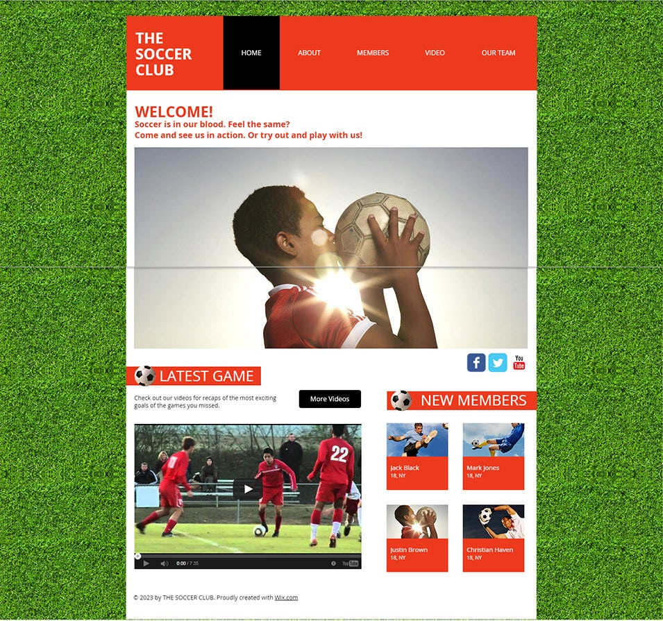 soccer club website template wix1