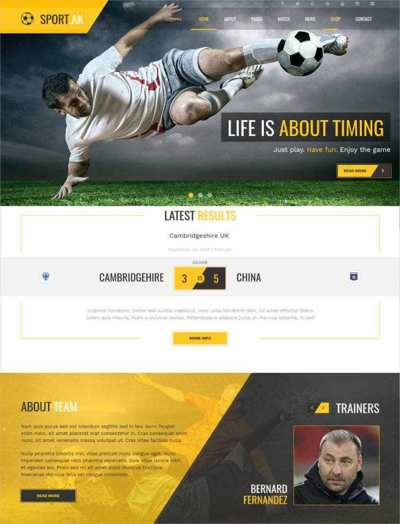 soccer sport html website template  788x1033