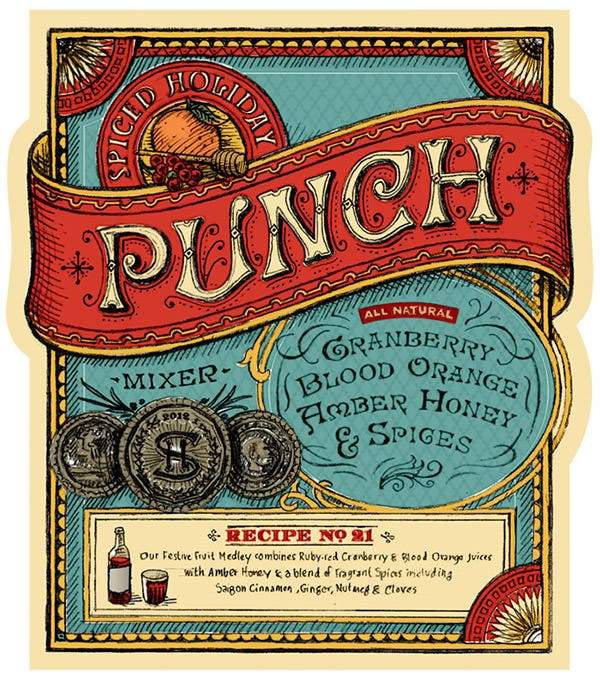 spiced holiday punch label design