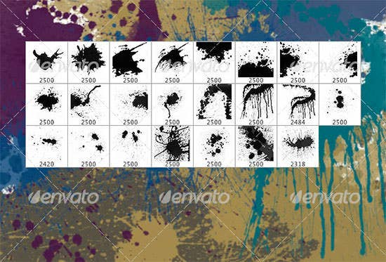 splatters set of 23 photoshop brushes