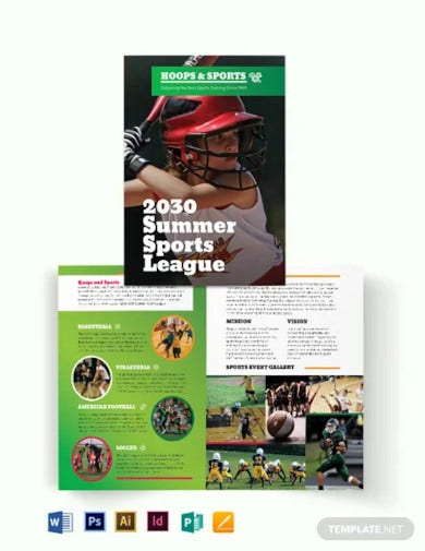 sports event bi fold brochure template