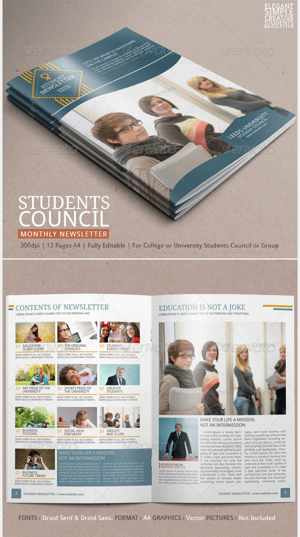 student newsletter template vol