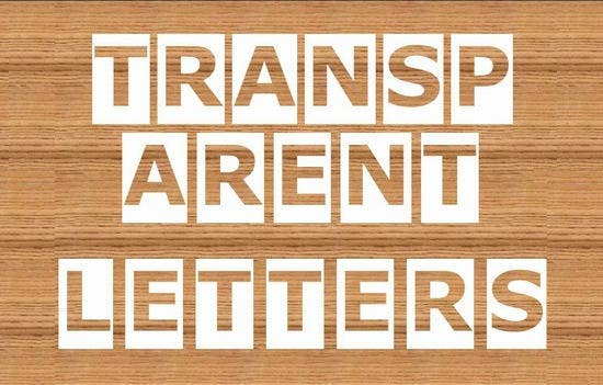 transparent letters ppt template