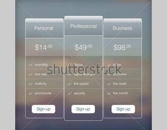 transparent app ui price list design