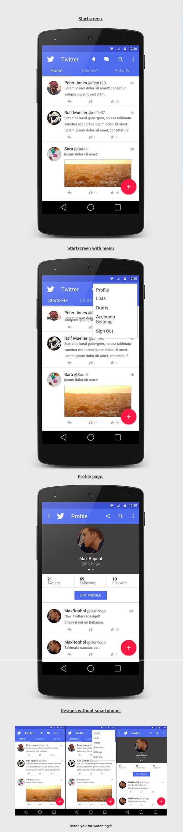 twitter app design concept