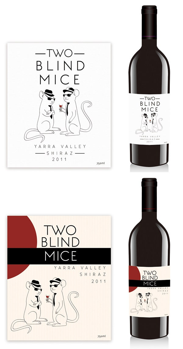 two blind mice wines label design
