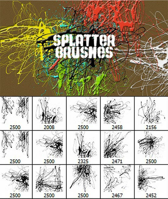 unique splatter photoshop brushes