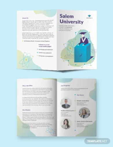 university bi fold brochure template