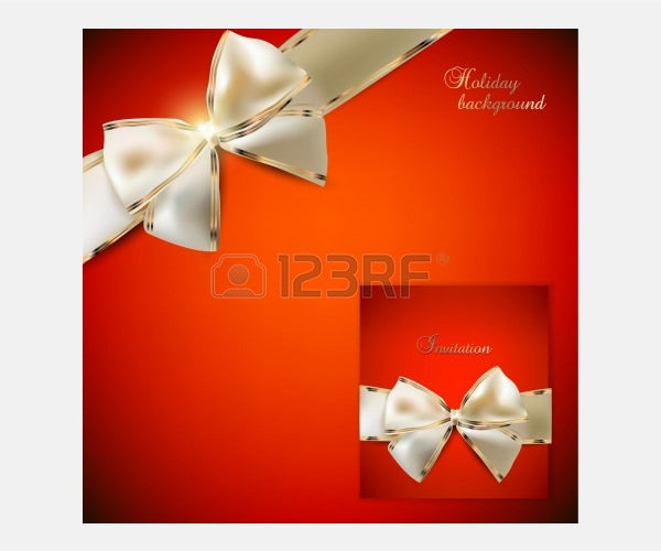 Vector - Elegant red background and Gift Card with ribbons In a same style