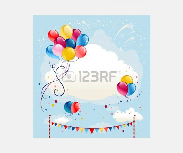 Vector - Festive balloons background with firework. Space for text