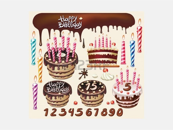 Vector - Set with Chocolate cakes and birthday decoration