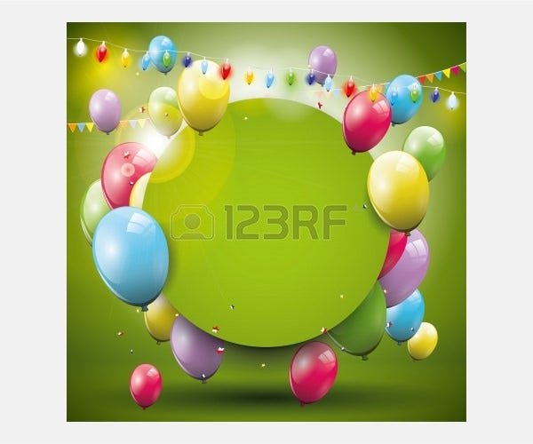 Vector - Sweet birthday background with flying balloons and place for text
