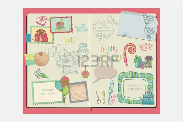 Vector - Vector Scrapbook Design Elements - Happy Birthday Set - hand drawn in notepad
