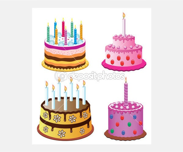 Vector birthday cakes - Stock Illustration