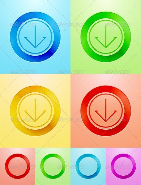 vector flat button designs