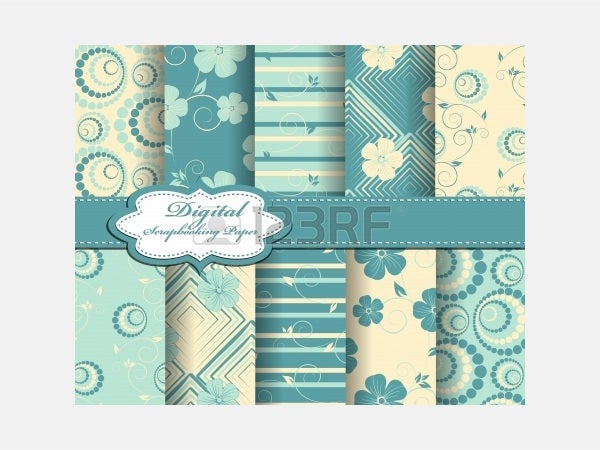 Vector - set of flower paper for scrapbook