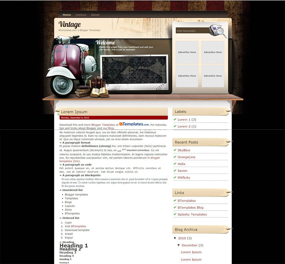 vintage blogger template btemplates