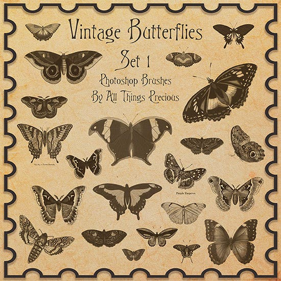 vintage butterflies set 1 brushes2