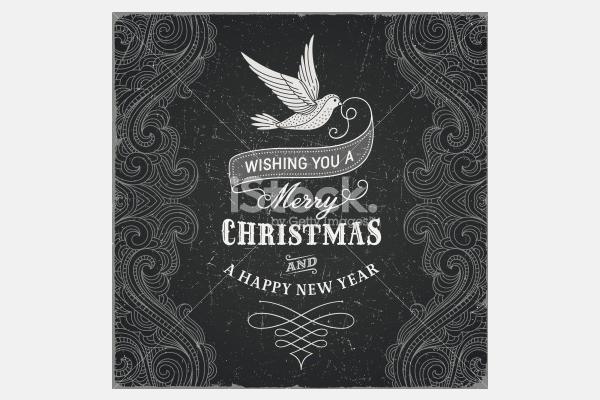 Vintage Christmas Greeting - Illustration