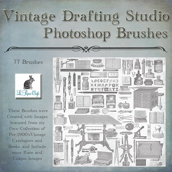 vintage drafting studio brush set1