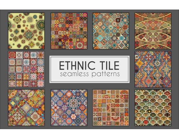 vintage ethnic tribal tile mosaic seamless patterns