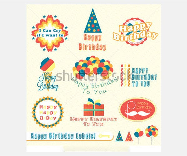 Vector Set: Vintage Happy Birthday Labels and Stickers