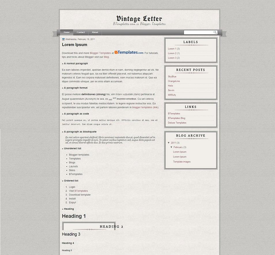 Vintage Letter Blogger template BTemplates