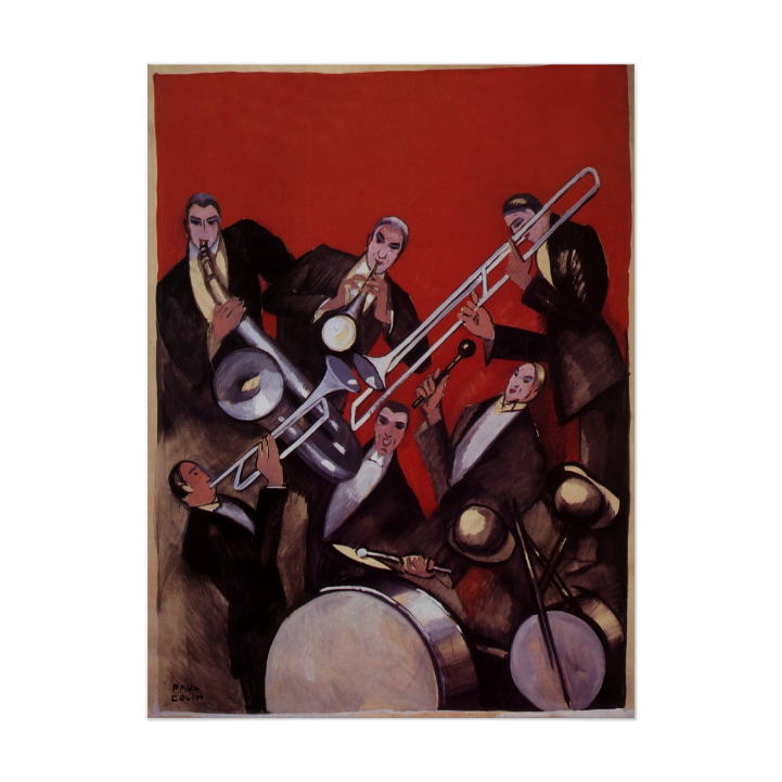 Vintage Music, Art Deco Musical Jazz Band Jamming Posters