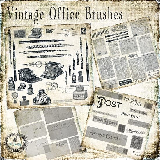 vintage office postcard brush set1