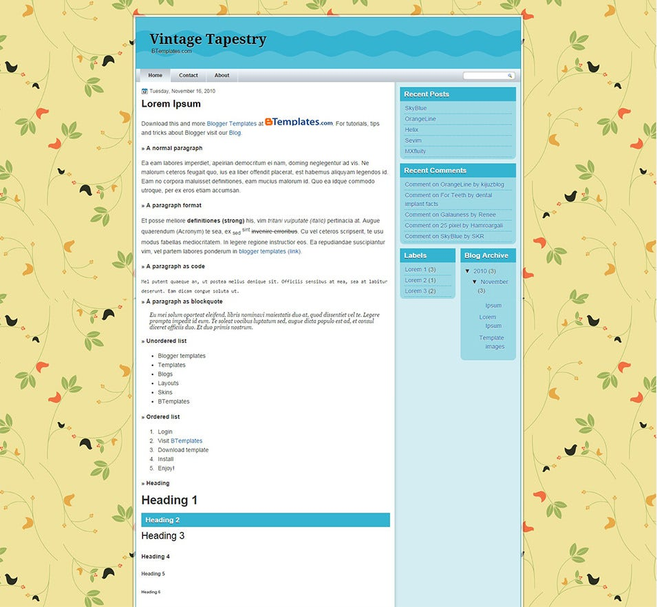 vintage tapestry blogger template btemplates copy