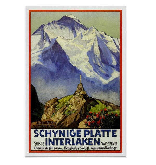 Vintage travel,Interlaken Print