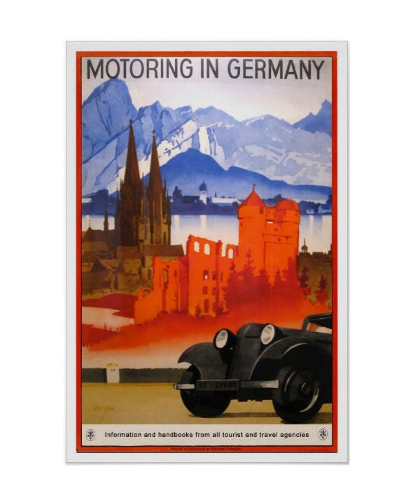 vintage travelmotoring in germany posters