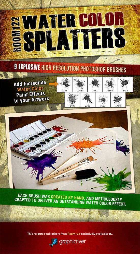 water color splatters photoshop brush set